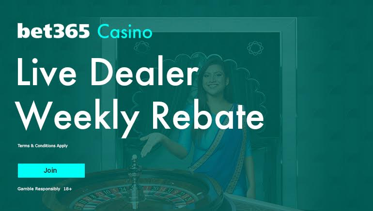 Enjoy a rebate of up to 0.8% on your Live Dealer play with Casino at bet365.